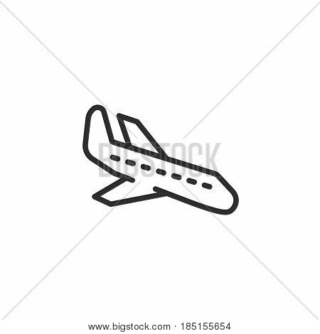 Plane landing line icon outline vector sign linear style pictogram isolated on white. Arrival symbol logo illustration. Editable stroke