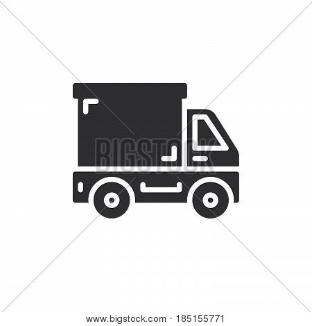 Delivery truck lorry icon vector filled flat sign solid pictogram isolated on white. Symbol logo illustration. Pixel perfect