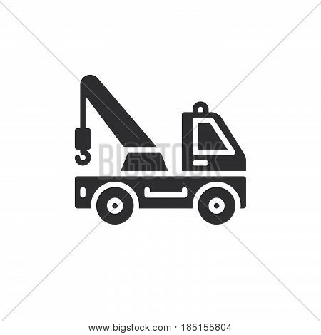 Tow truck icon vector filled flat sign solid pictogram isolated on white. Symbol logo illustration. Pixel perfect