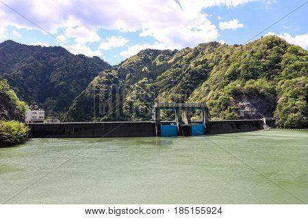Lake Midori and Shintoyone Dam in Aichi, Japan.