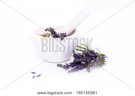 lavender flowers lavander extract and montar with dry flowers isolated on white.