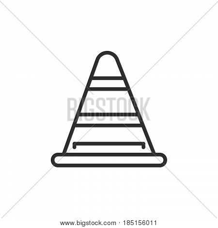 Road traffic cone line icon outline vector sign linear style pictogram isolated on white. Under construction symbol logo illustration. Editable stroke. Pixel perfect