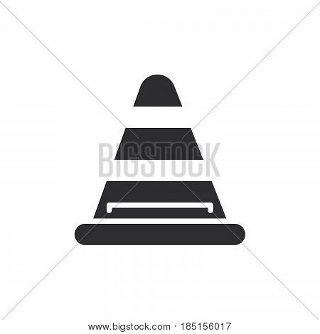 Road traffic cone icon vector filled flat sign solid pictogram isolated on white. Under construction symbol logo illustration. Pixel perfect