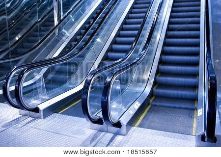 futuristic escalator in modern office
