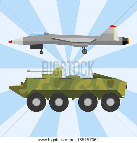 Military technic army war transport and industry technic armor defense vector collection. Transportation weapon technic exhibition international fighting conflict weaponry tracks.