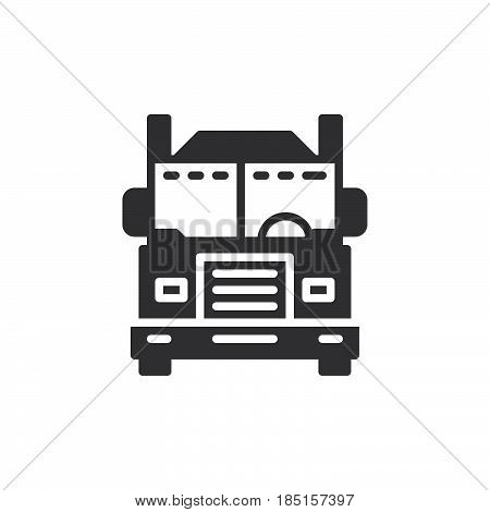 Interstate truck icon vector filled flat sign solid pictogram isolated on white. Symbol logo illustration. Pixel perfect