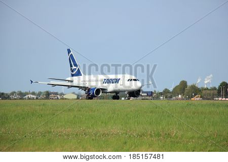 Amsterdam the Netherlands - May11th 2015 : YR-ASA TAROM Airbus A318-111 on the Polderbaan runway of Amsterdam Schiphol Airport. oldest currently operating airline of Romania based in Otopeni.