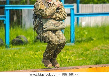 Military parachuting skydiving sports at training yard