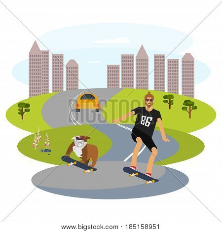 Hipster man character with beard and his dog riding longboard skateboard. Vector illustration eps 10