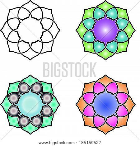 Celtic knot like Mandala. Four different designs
