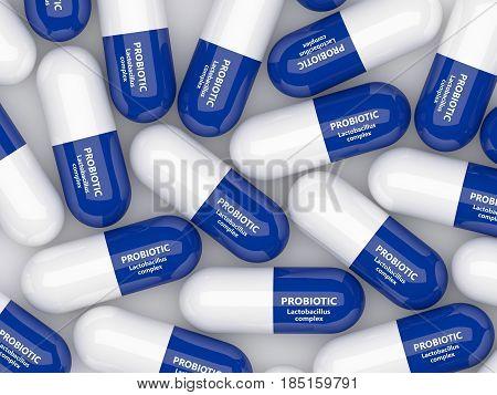 3D Render Of Probiotic Pills Over White