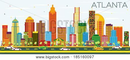 Atlanta Skyline with Color Buildings and Blue Sky. Business Travel and Tourism Concept with Modern Architecture. Image for Presentation Banner Placard and Web Site.