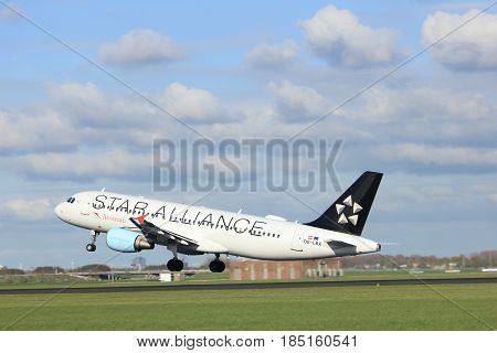 "Amsterdam the Netherlands - April 7th 2017: OE-LBX Austrian Airlines Airbus A320 takeoff from Polderbaan runway Amsterdam Airport Schiphol painted in ""Star Alliance"" livery."