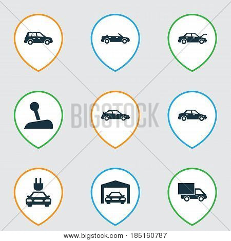 Car Icons Set. Collection Of Plug, Repairing, Lorry And Other Elements. Also Includes Symbols Such As Gear, Electric, Automobile.