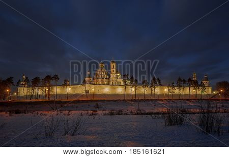 Churches and monasteries, Istra, Russia, winter, Evening photography,