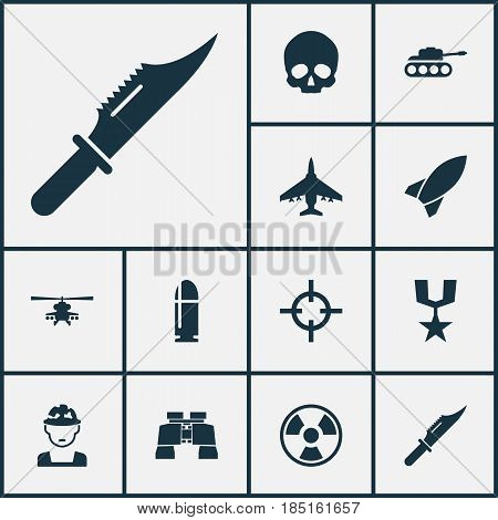 Combat Icons Set. Collection Of Glass, Slug, Chopper And Other Elements. Also Includes Symbols Such As Rocket, Target, Skull.