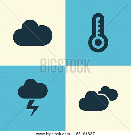 Climate Icons Set. Collection Of Cloudy, Weather, Temperature And Other Elements. Also Includes Symbols Such As Hot, Rain, Cloudy.