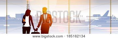 Silhouette People In Airport Waiting Hall Departure Terminal Interior Check In Flat Vector Illustration