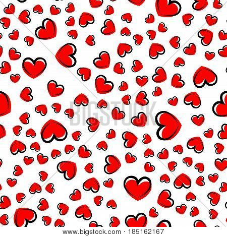 white seamless pattern with red and black heart. vector