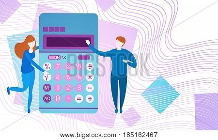 Businesspeople With Calculator Banking Accountant Finance Business Flat Vector Illustration