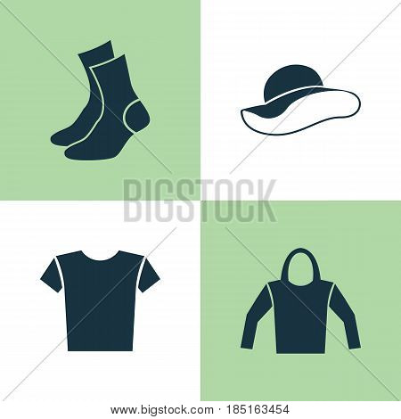 Dress Icons Set. Collection Of Half-Hose, Elegant Headgear, Sweatshirt And Other Elements. Also Includes Symbols Such As Shirt, Clothes, Hat.