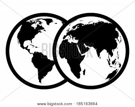 Black abstract earth symbol. Two view. 3d illustration