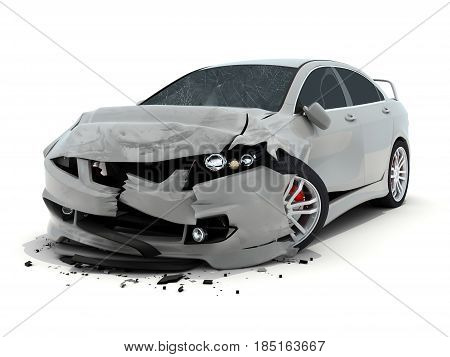Car accident on white background. 3d illustration