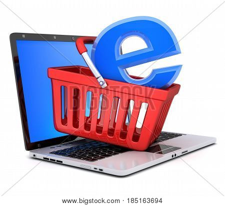 Laptop and shopping cart. Abstract symbol e-shop. 3d illustration