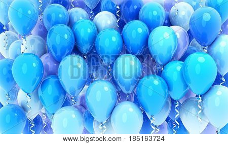 Many balloons blue background .3d illustration