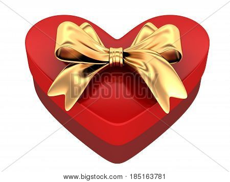 Red gift in shape heart. 3d illustration