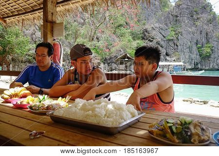 Tourists Have A Lunch In Coron Island, Philippines