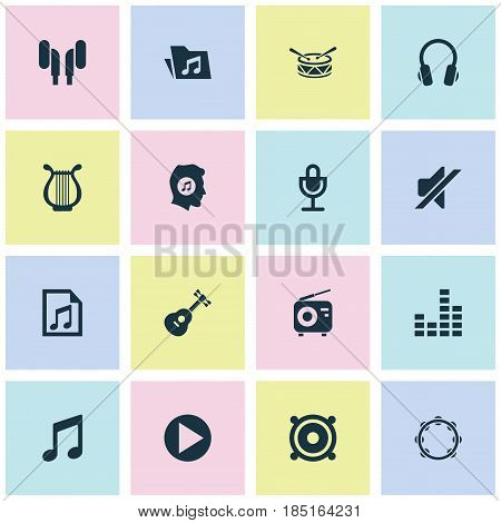 Audio Icons Set. Collection Of Dossier, Earmuff, Start And Other Elements. Also Includes Symbols Such As Drum, Percussion, Guitar.