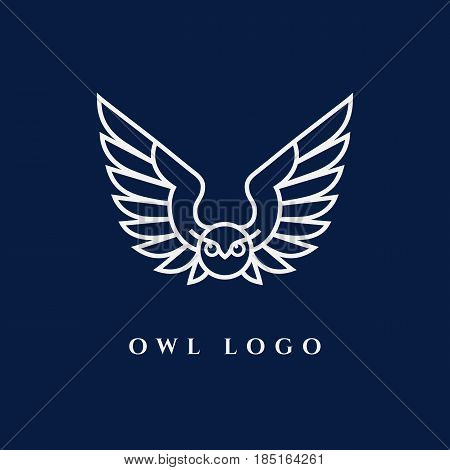 Template for logo label and emblem with white contour of owl. Vector illustration.