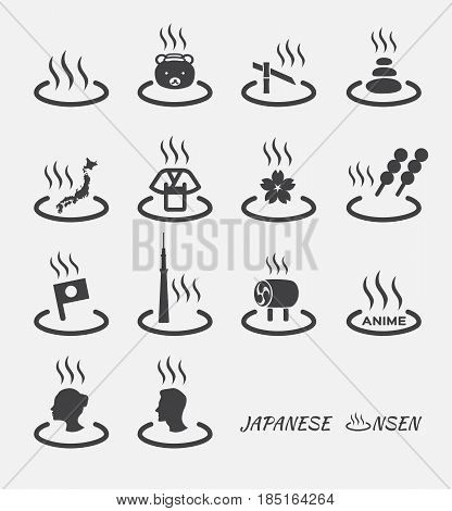 Set of Japanese hot spring marks ( onsen ). vector icon