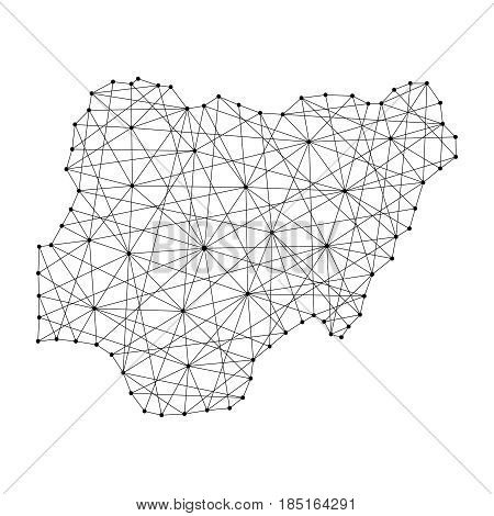 Map of Nigeria from polygonal black lines and dots of vector illustration