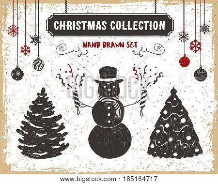 Hand drawn textured vintage Christmas icons set with fir trees snowman and flappers vector illustrations.