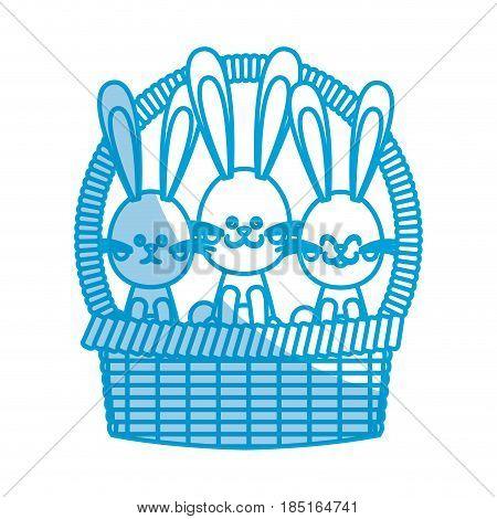 happy easter bunny basket ornament celebration vector illustration
