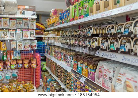 Many Types Of Pet Food And Products In Pet Shop