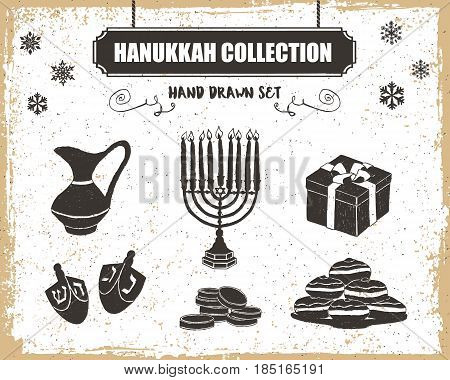 Hand drawn textured Hanukkah icons set with menorah oil pitcher gift box dreidels gelt and sufganiyot vector illustrations.
