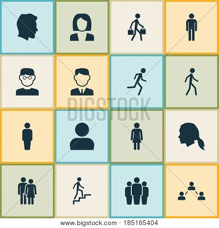 People Icons Set. Collection Of Member, Businesswoman, Beloveds And Other Elements. Also Includes Symbols Such As Social, Group, Courier.