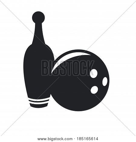 bowling ball and pin game equipment pictogram vector illustration