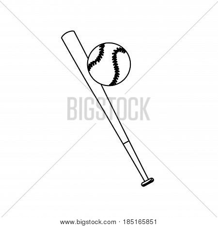 baseball bat and ball sport play line vector illustration