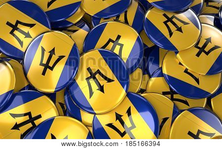 Barbados Badges Background - Pile Of Barbadian Flag Buttons.