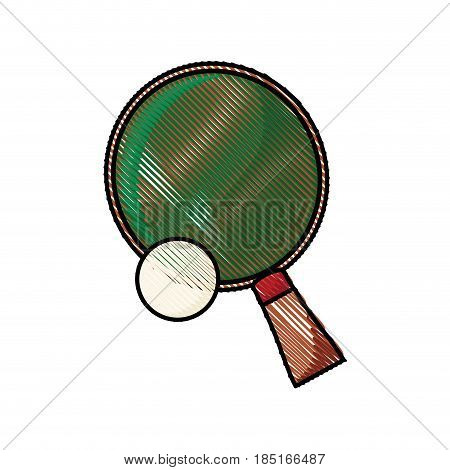 drawing racket and ball ping pong play vector illustration