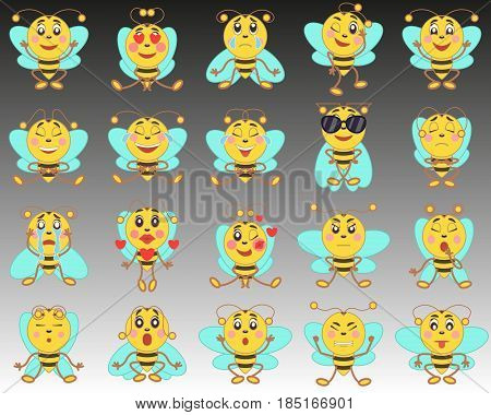 Set of emoji emoticons in a flat style. A set of isolated cartoon bees on a background from black to white.