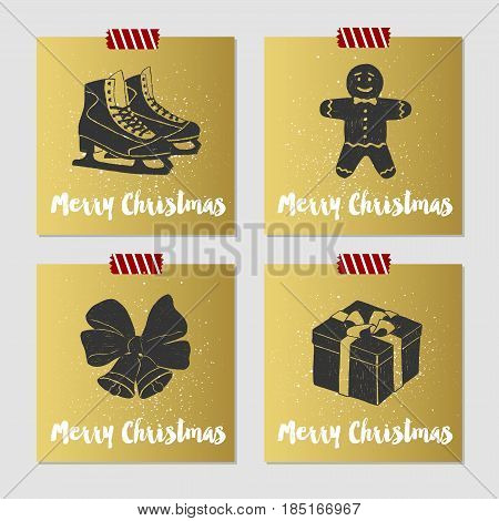 Hand drawn Christmas cards set with textured ice skates gingerbread man bells and gift box vector illustrations.