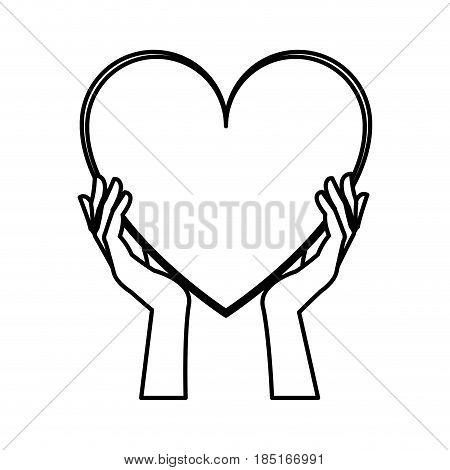 hands holding heart blood donation line vector illustration