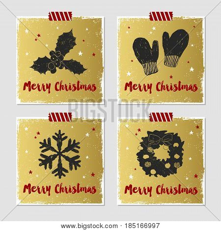 Hand drawn Christmas cards set with textured mistletoe mittens snowflake and Christmas wreath vector illustrations.