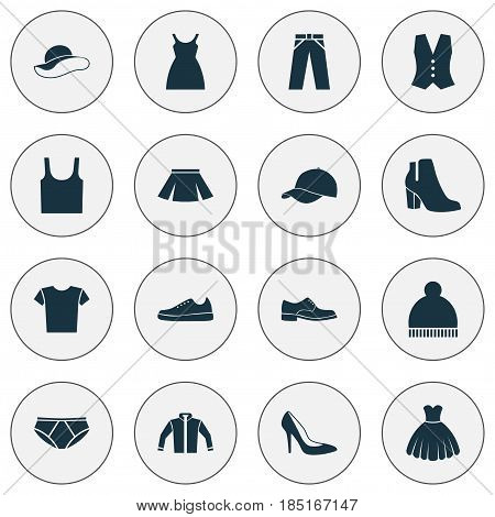 Dress Icons Set. Collection Of Heel Footwear, Elegance, Sneakers And Other Elements. Also Includes Symbols Such As Casual, Underpants, Dress.