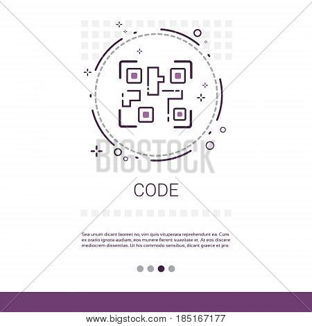 Code Software Development Computer Programming Device Technology Banner With Copy Space Vector Illustration